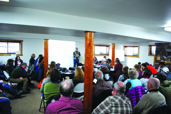 About 85 people crowded into Sportsman Lodge for the Madison River NRC meeting on Wednesday, March 6 to listen to and comment on deliberations.