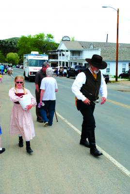 Living History on Memorial Day in Virginia City...   Lookout hooligans, the VC sheriff is in town, with his helper passing out Virginia and Nevada City historical stickers. (J. Taylor ph