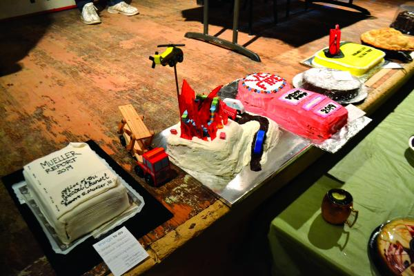 Some of the auction items on Saturday night included elaborately decorated confections homemade by Virginia City residents. Some cakes commemorated the fire department itself, while others poked fun at current events such as the Mueller Report.