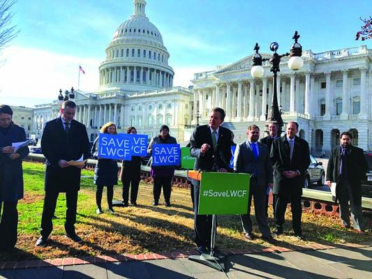 Sen. Daines and supporters of LWCF rally outside the Captiol in Washington, D.C. (Submitted)
