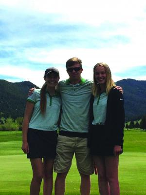 Ennis High School sent three representatives to the state golf championships at Fairmont Hot Springs May 14-16: (left to right) Landri Paladichuk, John Fortier and Logan Crowley. (Submitted)