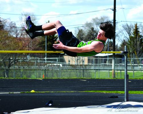 """Ennis's Jacob Mulholland placed 1st at 5' 10"""" in the High Jump"""