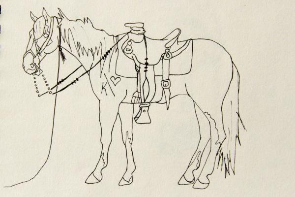 A horse sketch by Kelsey Hubner features her registered K-Bar-Heart brand. The sketch is one of several featured on a line of Western-theme travel bags sold by a Texas company.