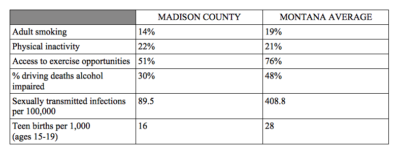 Some of the health behavior factors analyzed for the 2018 County Health & Roadmaps report, published on March 14. The report ranked Madison County the overall healthiest among 47 counties that were part of the study. (Data from County Health Rankings & Roadmap)