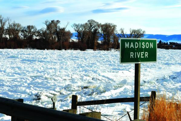 Ice gorging on the Madison River north of Ennis.