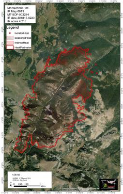 Below - U.S. Forest Service image of the extend of the Monument fire as of Monday, August 13. The fire grew from a quarter acre, lighting caused blaze to almost 2,000 acres in three days.