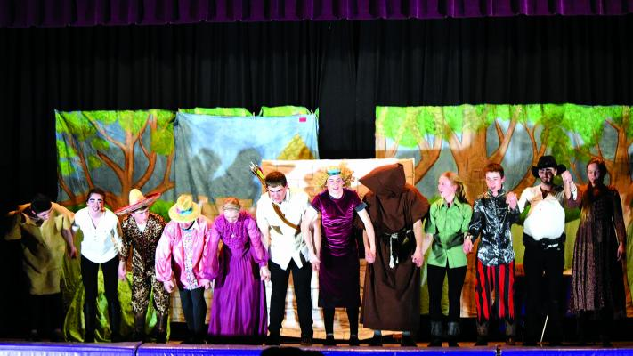 """ABOVE – Harrison students performed """"The Adventures of Robin Hood"""" on March 28, after working every day after school for more than a month to prepare the production. The play was a huge success, staff told the Harrison school board at their April 8 meeting. (A. Christensen)"""