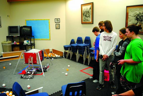 During the December 18 Twin Bridges school board meeting, board members got a look at what the robotics team had created and what they could do with their efforts. (J Taylor photos)