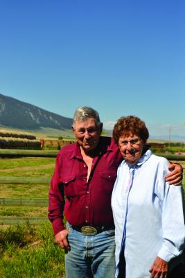 Arnie and Mary Rosdahl outside their home in Sheridan, a part of the ranch where Mary was raised. Both Montana natives, the pair has lived and ranched in the Madison Valley since 1972. (R. Colyer)