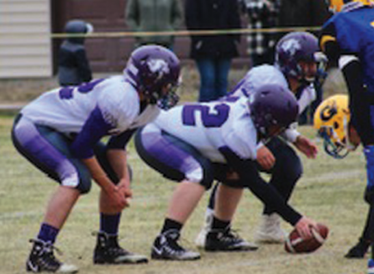 The Beefy Boys, Zak McCormak, Kaiden Batzler, Noah Caldwell, and Joe Gilman get set to snap the ball in this weekend's game against Gardiner.  PHOTO COURTESY OF MIKE WETHERBEE