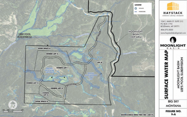 Surface water map indicating the proposed 40-foot setback on the unnamed stream in the middle/right-hand side of the subdivision. PHOTO COURTESY OF MOONLIGHT BASIN, PRELIMINARY PLAT