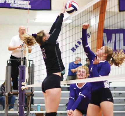 Harrison senior, Rosie Chater, tips the ball over the net in their Oct. 14 victory over the Sheridan Panthers. PHOTO COURTESY ANDREA CHRISTENSEN