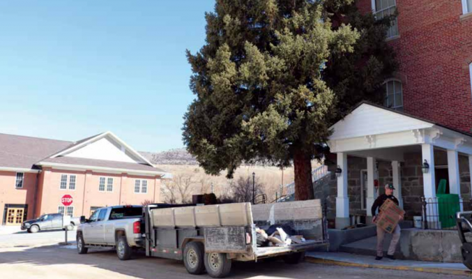 The basement of the Madison County Courthouse has historically had issues with dampness resulting from runoff seeping into the more than 100-year-old building. The Madison County Sheriff's Office once resided there, but was relocated down the road. On March 31 work began to remediate the damp and related mold in the lower level of the courthouse. PHOTO BY JOLENE PALMER