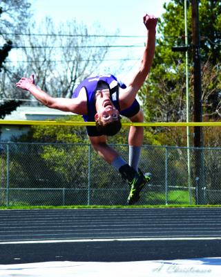 """Junior Vern Homner placed 1st in the High Jump with 5'10"""", 1st in the Long Jump with 19' 5.75"""", 1st in Triple Jump with 41' 11.25"""", 2nd in Discus with 132' 7"""", 2nd in Shot Put with 38' 2.5""""."""