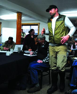 Right – Chris Knott, from 4 Rivers Fishing in Twin Bridges was one of a number of people who commented on proposed changes in Madison River Regulations, or Wednesday, March 6