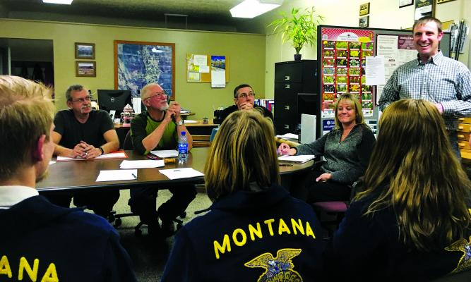 Ruby Valley FFA Parliamentary Procedures team members Tyler Haag, Madison Fabel, Zoe Lee, and Grace Larsen; their advisor, Sheridan schools ag education teacher Rodney Braaten; wowed Sheridan town council members Rahn Abbott, Mayor Bob Stump, Mike Walter and Clerk Ginger Galiger with their skills at council's Monday, January 14, meeting. (J. Taylor)