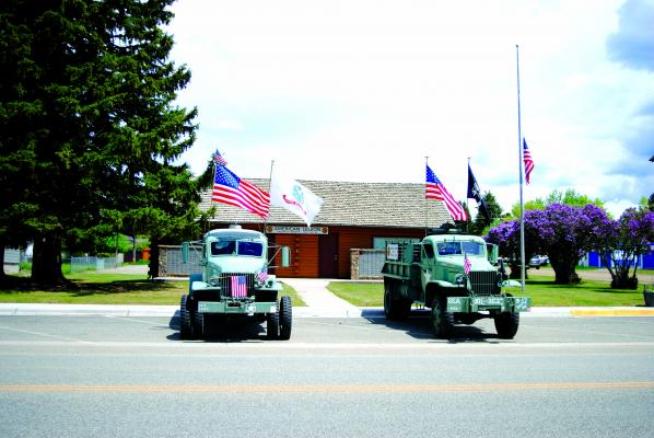 Sheridan veterans were remembered with two WWII vehicles outside the Legion