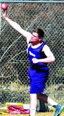 Harrison's Layne Homner throws the shot put at Bozeman's TFMC invitational on Saturday, April 6. Homner finished second with a season-best throw of 42 feet 2 inches. (A. Christensen photos)