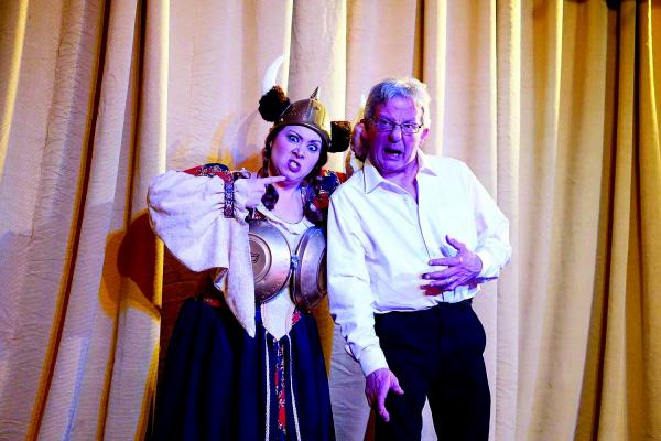 "Christina and Bill Koch: ""We met in Virginia City nine years ago working at the Opera House. He's the artistic director and I'm the company manager for the Virginia City Players. For our first date, he took me lingerie shopping at the junkyard and made me this stunning gold hubcap bra! We've been in love ever since!"""