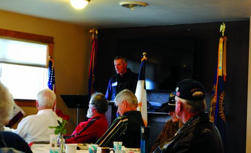 U.S. Air Force veteran and rancher Brett Owens, of McAlister, shared his thoughts on what Veterans Day was all about, at the Madison Valley Baptist Church, Sunday morning. (J. Taylor)