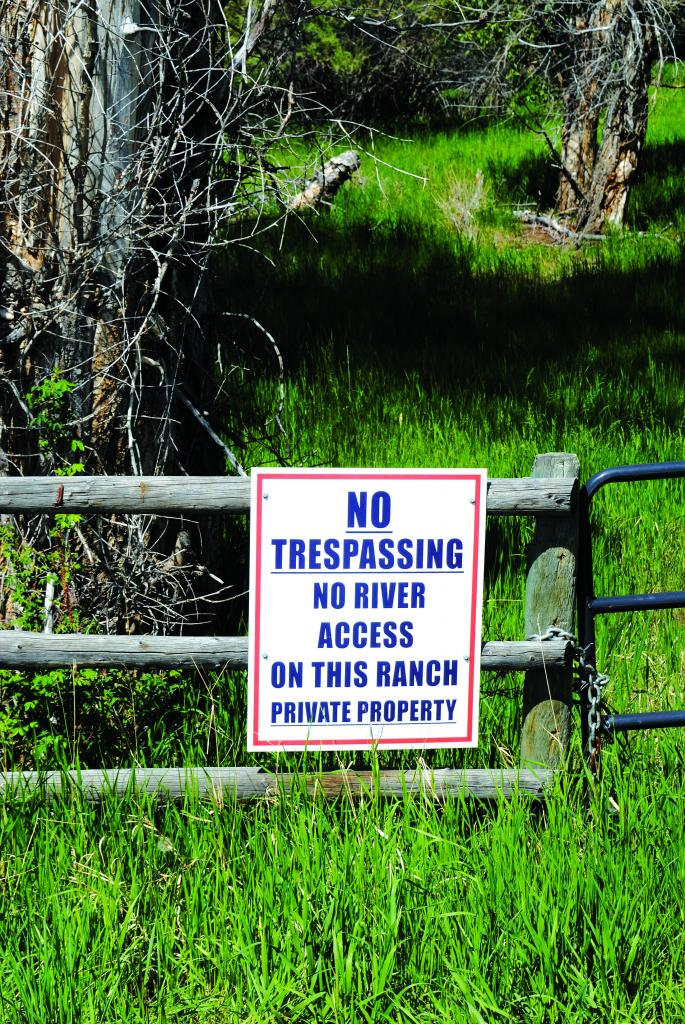 """Signs, signs everywhere a sign... Above and left: Some signs, such as the """"respect the access"""" (above) and the FWP sign (above left) marking the site as a permanent river access are welcoming. Others, such as the """"stay below the high water mark"""" (above left) and the harsher no trespassing/no access sign (bottom left) tell a different story"""