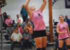 Harrison Wildcat Dana Lerum #9 sets, sporting pink for Breast Cancer Awareness month. PHOTO COURESY OF ANDREA CHRISTENSEN