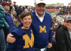 Pam is wearing her father's letter sweater from when he played at MSU in the 1930s. Gary is wearing a sweater he was given after being inducted into the Bobcat Hall of Fame. Pam's son, Brant, was a captain for the MSU Bobcat football team. PHOTO COURTESY PAM BIRKELAND