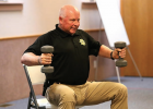 Teton County Sheriff Keith VanSetten, 60, does arm exercises during a session of the StrongPeople class last fall in the Choteau Baptist Church fellowship hall. PHOTO BY VONNIE JACOBSON/CHOTEAU ACANTHA