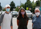 Therese Picasso-Edwards, center, and Stephen Kalb-Koenigsfeld, left, of the Red Lodge Community Foundation, and foundation board member Don Redfoot stand on Broadway in Red Lodge on Wednesday, August 5, 2020. Credit: Casey Page, Billings Gazette