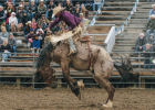 Charles Lytle from Arlee earns 74 points, placing fifth, in the saddle bronc riding competition.