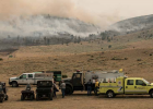 The Department of Natural Resources and Conservation and Madison Valley Fire Department at their station by the Norris dumpsite Aug. 24. PHOTO BY HANNAH KEARSE
