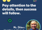 Ehlers' words of wisdom were showcased on KiwiCo's Instagram account along with four other awesome educators who received an award from the company earlier this month. INSTAGRAM IMAGE