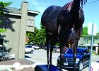 One of Dolan's newest pieces, a life-sized horse, was installed outside the Black Jack Ranch Gallery. (R. Colyer photo)